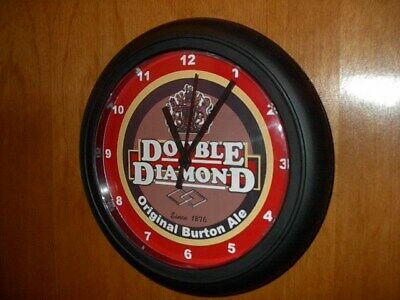 Double Diamond Eglish Ale Beer Bar Man Cave Advertising Black Wall Clock Sign