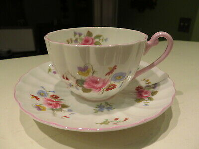 Shelley Rose &  Red Daisy Bone China Cup & Saucer Ludlow Shape Pink Trim NR
