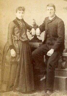 ANTIQUE CABINET PHOTO VICTORIAN WOMAN & GENT FASHIONS by BURNHAM BACKSTAMP