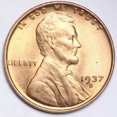 1937-D Lincoln Wheat Small Cent GEM BU FREE SHIPPING E161 RE