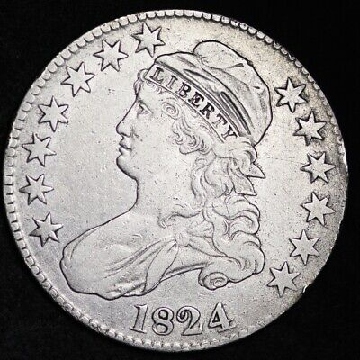 1824 Capped Bust Half Dollar CHOICE VF FREE SHIPPING E301 AET