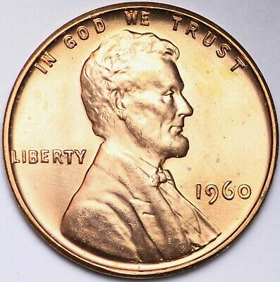 BLAZING RED GEM BU 1960 SMALL DATE Lincoln Memorial Cent Penny FREE SHIPPING