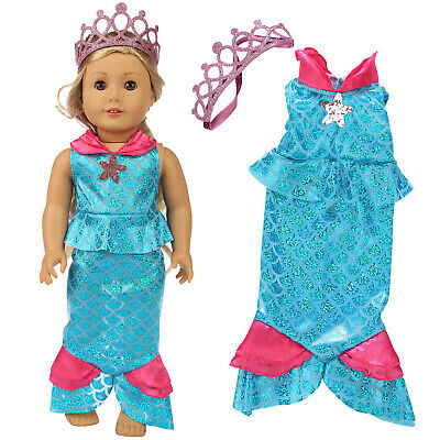 New Doll Mermaid Dress Outfits + Crown For America 18 inch Girl Doll Gift Party