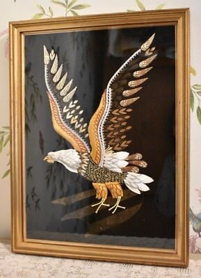 Vintage Framed Glazed Beaded Fabric Picture Of A Eagle Taking Flight Craft Item