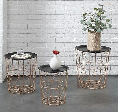 Vintage Copper Metal Coffee Table Set 3 Pcs Baskets Sofa Side Nest Of Tables NEW