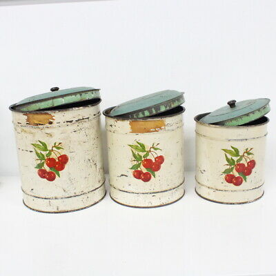 Vintage Set of 3 Tin Kitchen Canisters Cherry Pattern #454