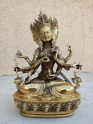 Antiques patina Bronze Magical Buddha Bodhisattva Old carved lucky Statue