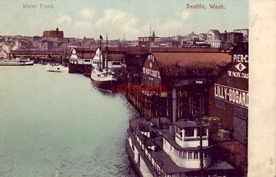 pre-1907 WATER FRONT. SEATTLE, WA Piers A - B - C The Pacific Coast Co.