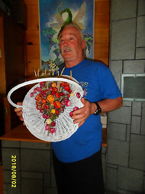 basket with strawflowers dried flowers straw flowers handmade in Maine