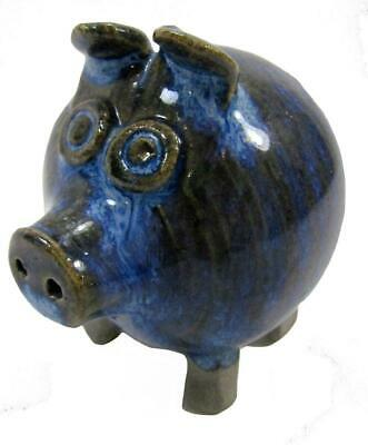 Pottery Pig Royal Blue Glaze Handcrafted 7 x 6.5 cm
