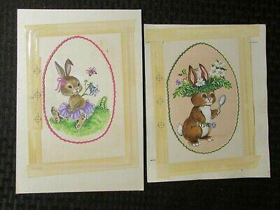 """EASTER Bunny Rabbits w/ Flowers & Butterfly 7x9"""" Greeting Card Art #2474 2823"""
