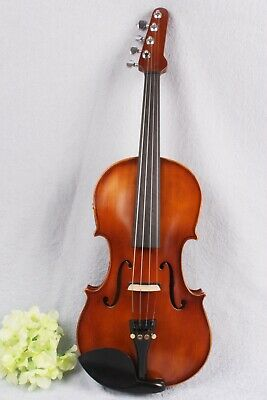 4/4 electric acoustic violin Maple Spruce Hand made Ebony Fittings Guitar Head