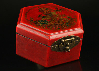 Vintage Collection Handmade Wood Red Leather Phoenix Jewelry Box