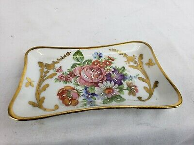 Great small antique French Limoges hand painted porcelain tray ca. 1900