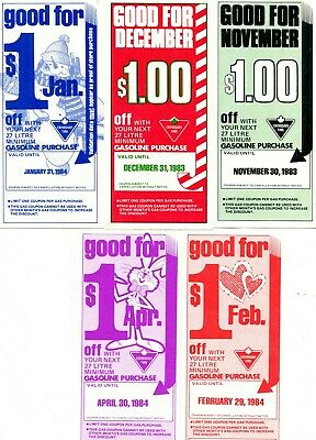 Canadian Tire Money - 5 early multipliers from 1982 & 83