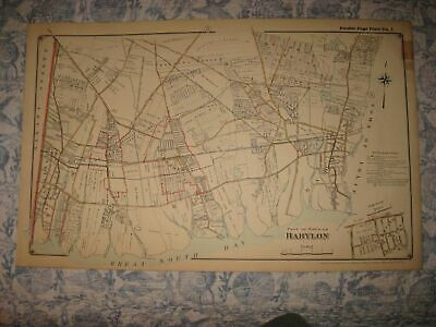 Antique 1915 Babylon Lindenhurst Amityville Copiague Long Island New York Map Nr