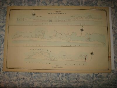 Masterpiece Antique 1915 Fire Island Beach Long Island New York Handcolored Map