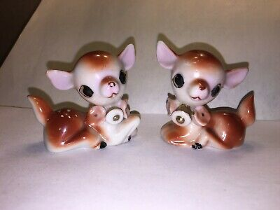 "Vintage Pair of Porcelain Baby Deer Fawn Figurines 2"" Ceramic Japan"