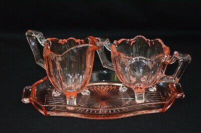 Pink Depression Glass Sugar Bowl,Creamer & Tray~ Old Reliable Colonial Pattern