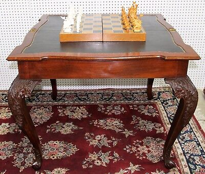 Antique Louis XV Carved Mahogany Leather Game Console Table Circa 1890 Flip Top