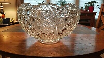 1950's Vintage American Cut Glass Punch Bowl (8lbs)