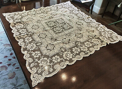 """Ornate Antique Handmade Italian Filet Lace Square Tablecloth 46""""x46"""" No Stains"""