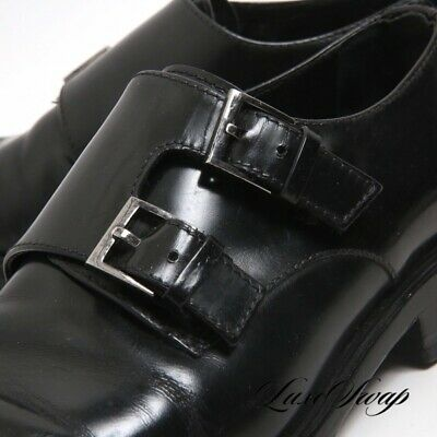 c50e41726 Gucci Made in Italy High Gloss Black Leather Double Monk Dress Shoes 9.5 D  NR
