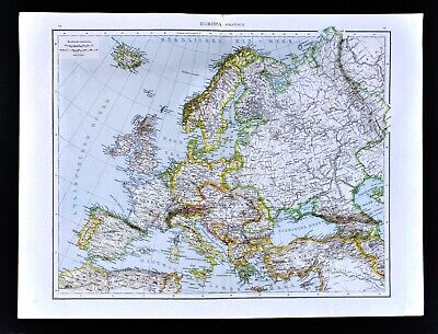 1881 Andrees Map Europe Italy France Spain Russia Sweden Greece Britain Germany