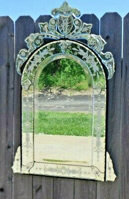 Vintage Venetian Etched Mirror Onate Fancy Wall Mirror 32' tall beveled