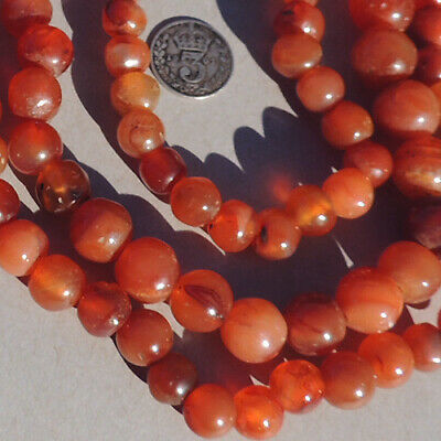 a strand of old antique carnelian agate african beads mali #4077
