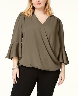 INC 7751 Plus Size 1X Womens NEW Olive Solid Blouse Top High-Low Pullover $79