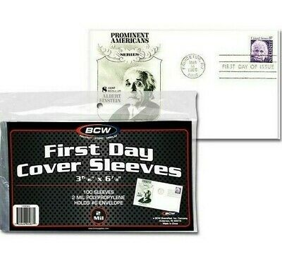 First Day Cover Sleeves. Sealed Pack of 100 BCW. #6 Envelope 3 15/16 X 6 7/8