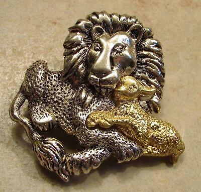 Vintage 70's Lion Lamb Pin Brooch Gold & Silver Tone Signed Danecraft