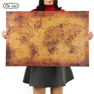 70x50cm Vintage Style Retro Cloth Poster Globe Old World Nautical Map Gifts DL5