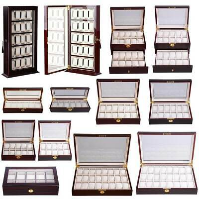US 3-24 Slots Men Watch Box Leather Display Case Organizer Glass Jewelry Storage