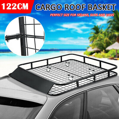 122cm Universal Powder Coated Steel Roof Rack Basket Mesh Cargo Luggage Carrier