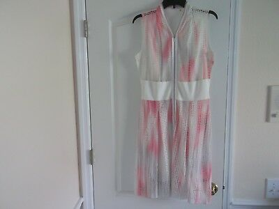 fb4d33d8e2bb Elie Tahari Emma Printed Eyelet Zip-Front Pink White Perforated Dress Size 6