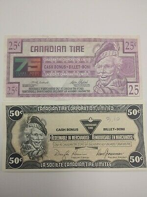 Canadian Tire Money - 25¢ 1997 7514664684 and 50 cents 1987 D07378282