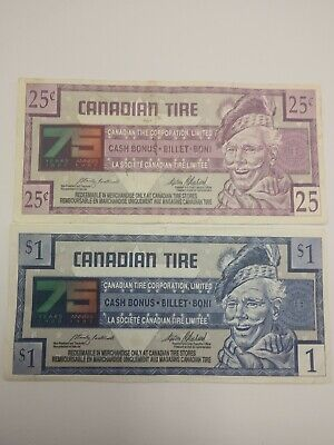 Canadian Tire Money 25¢ 1996 75145415494 and $1 7502616721 75th anniversary