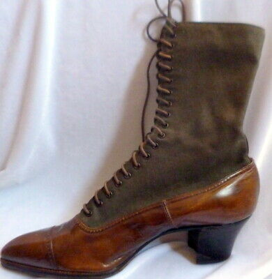 Vintage 1910s Edwardian BROWN LEATHER Lace Up Boots Size 6 Victorian