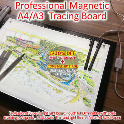 A4 A3 Magnetic Touch Dimmable Tracing Copy Board USB Marked Scale LED Light Box