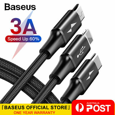 Baseus 3in1 Multi Lightning /Type C /Micro USB 2.0 Charging Data Sync Cable Cord