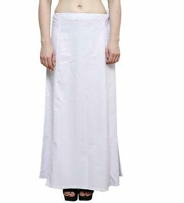 Sari Indian Bollywood Cotton Stitched Saree Petticoat Underskirt White Color