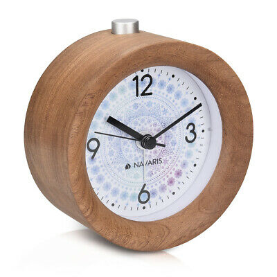 Battery-Powered Analogue Wooden Alarm Clock - Dark Brown Wood, Arctic Snowflake