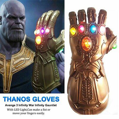 Avenge 3 Infinity War Gauntlet LED Light Cosplay Thanos Gloves Costume Shiny