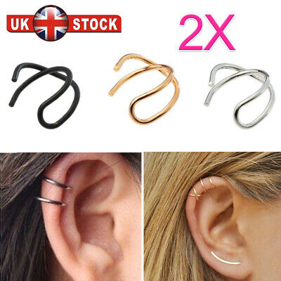 2X Cross Leaf Ear Clip Cuff Wrap Fake Earring Stud Hoop Non Piercing Cartilage