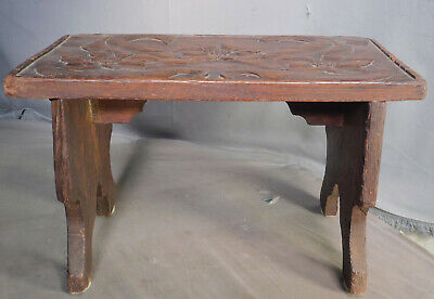 Antique Carved dark Oak Jacobean Art Nouveau Crafts Gothic Stool Floral Leaf OLD