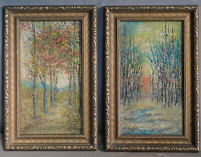 Pair Arts Crafts Landscape Oil Painting carved Bronze Gilt Picture Frame M Sharp