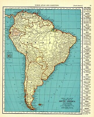 1941 Antique SOUTH AMERICA Map Vintage Map of South America Continent Map 6624