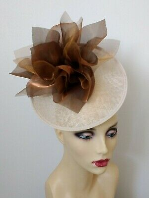 Light Beige & Multi Tonal Shimmery Bronze Fascinator No Return